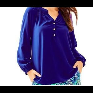 Lilly Pulitzer Elsa Silk top in deep blue
